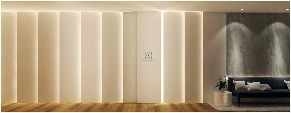 detalle de paneles decorativos en el pasillo del proyecto interiorismo clinica sesderma en valencia