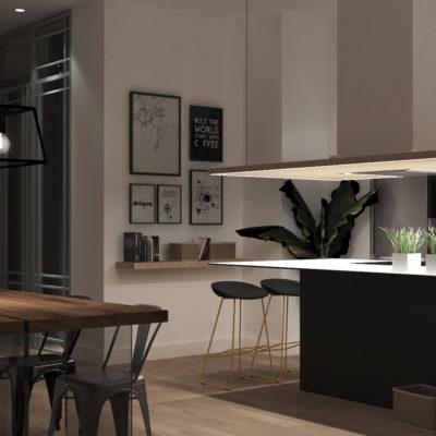 Detalle de la vista de la cocina integrada en el salón en el proyecto de interiorismo del apartamento e n Valencia