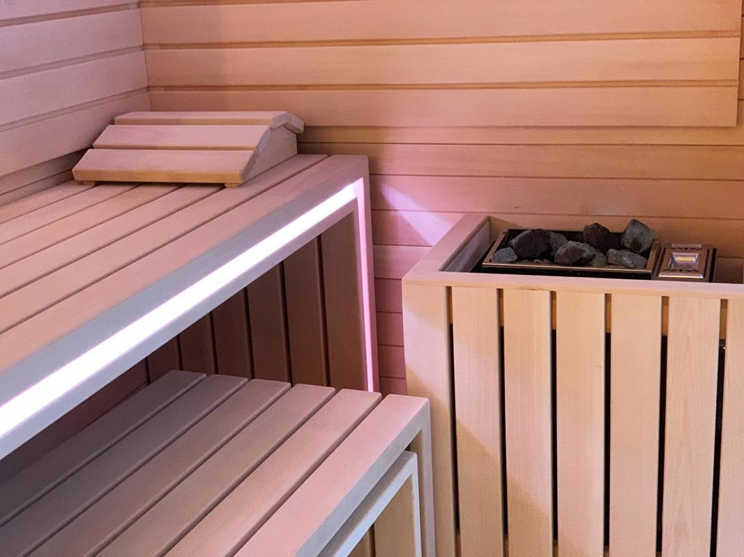 detalle de la sauna del proyecto interiorismo centro wellness dr Serrano en Valencia