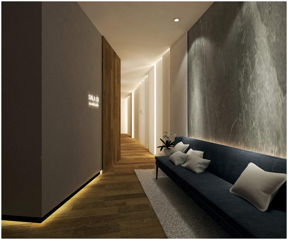 detalle del hall y pasillo del proyecto interiorismo clinica sesderma en valencia