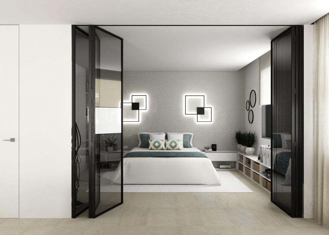 dormitorio del proyecto de interiorismo de apartamento en benicassim