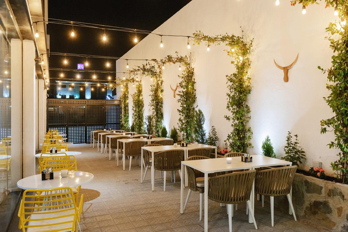 terraza del proyecto de interiorismo del restaurante en madrid Be Vivo