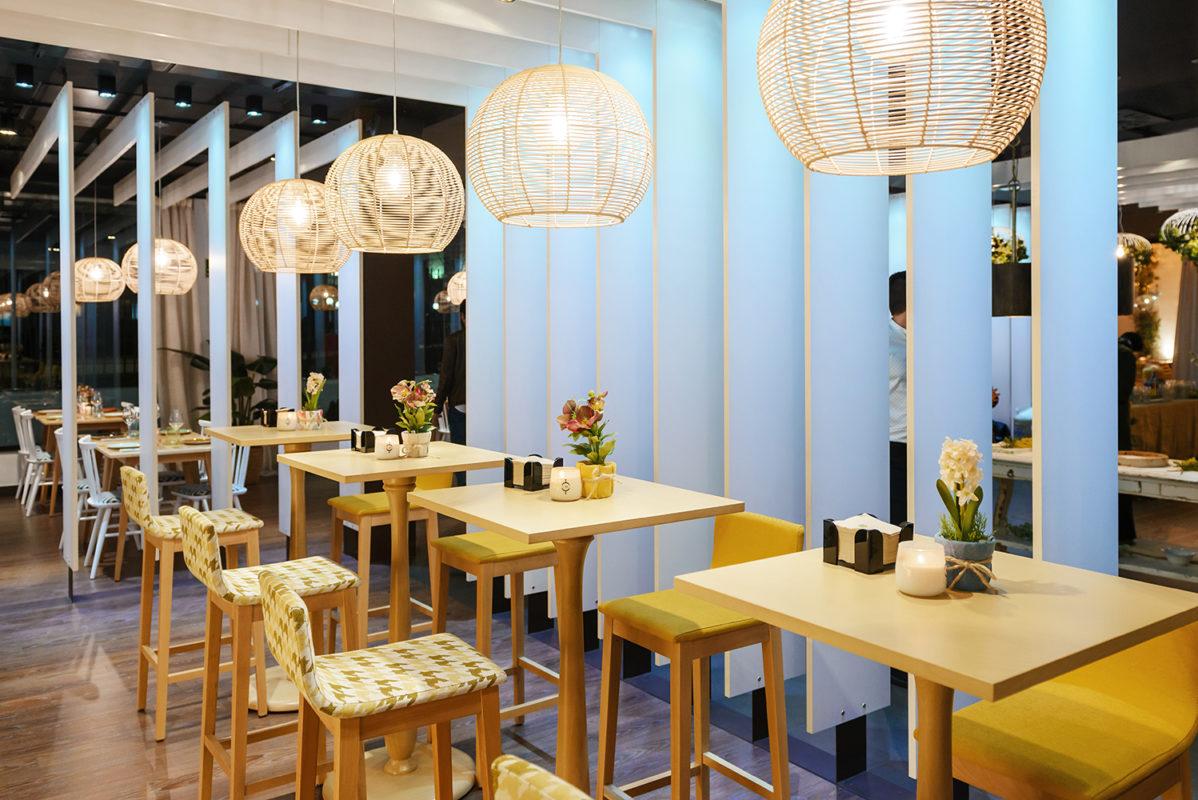 mesas comedor del proyecto de interiorismo del restaurante en madrid Be Vivo