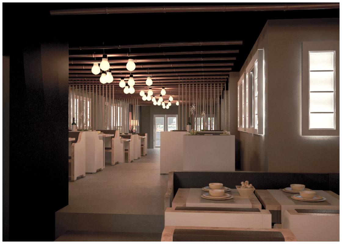 Vista restaurante Nomori con bombillas en el techo