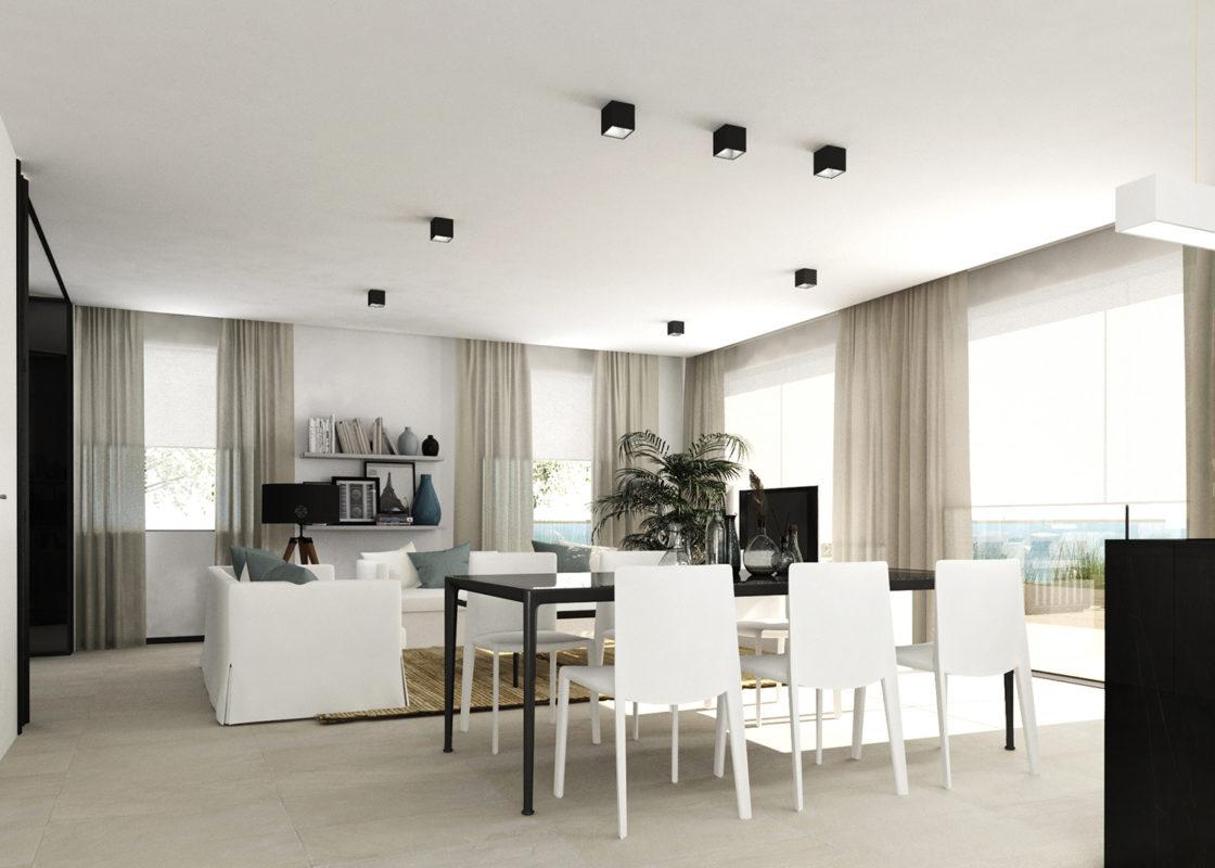 salon del proyecto de interiorismo de apartamento en benicassim