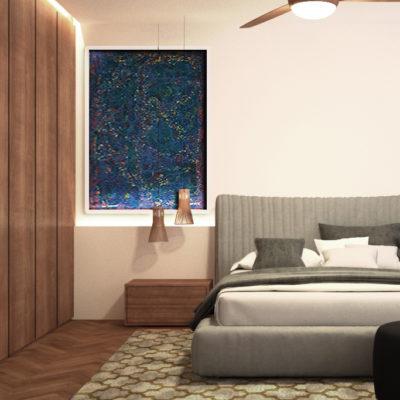 Habitacion en tonos claros y mobiliario en madera