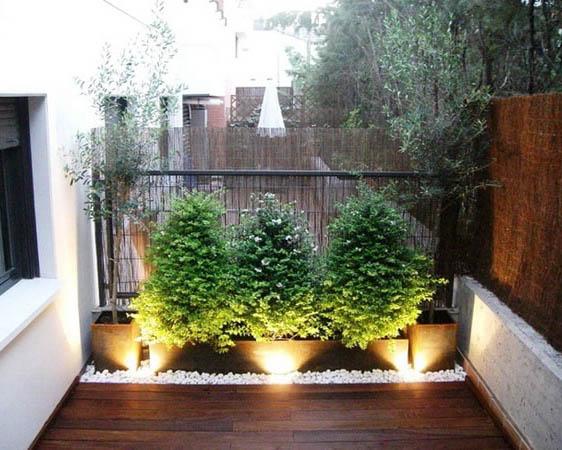 iluminación de plantas en pequeña terraza exterior