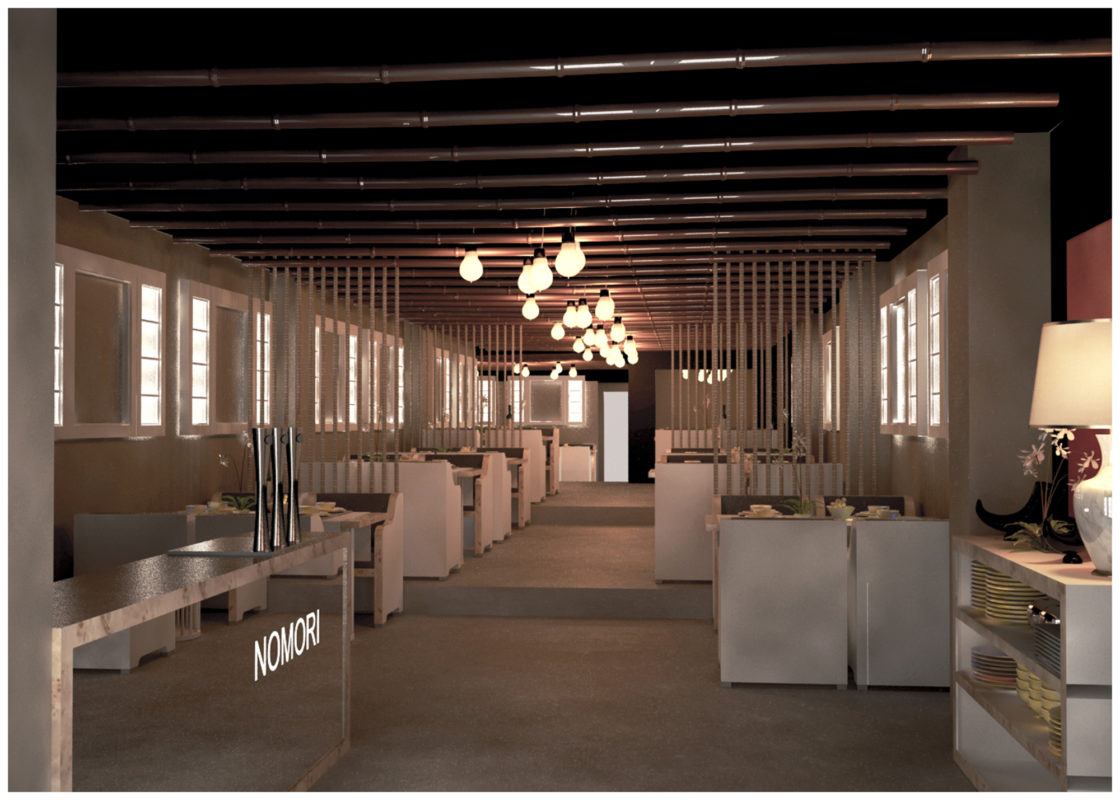 Restaurante interior con limunación artificial gracias a ventanas falsas