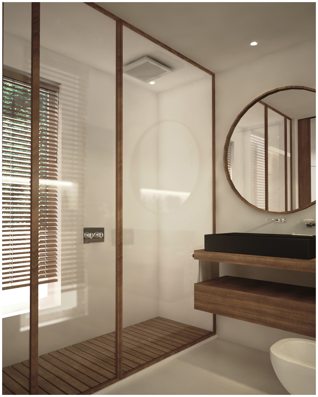 baño en color madera con espejo y gran ducha
