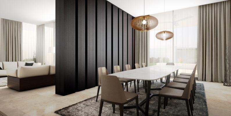 salon con sofas y comedor con sillas y mesa dividido