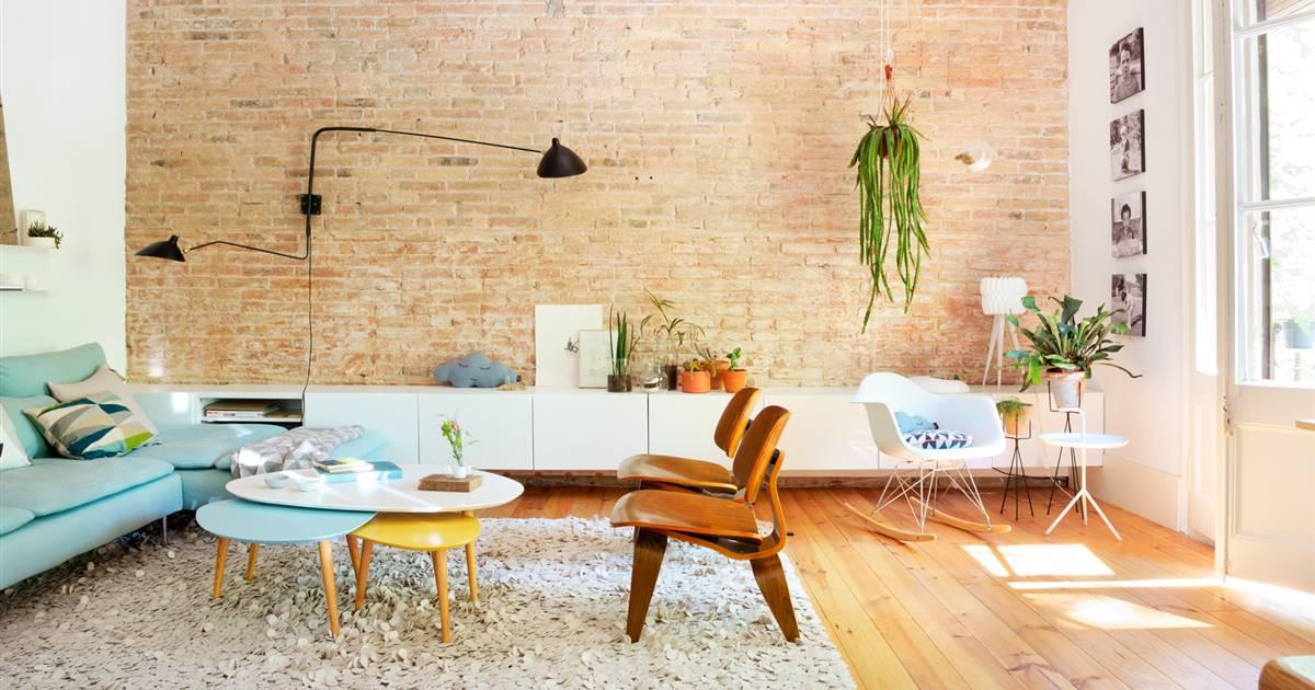 sofa y sillas salon con planta colgante sobre pared de piedra