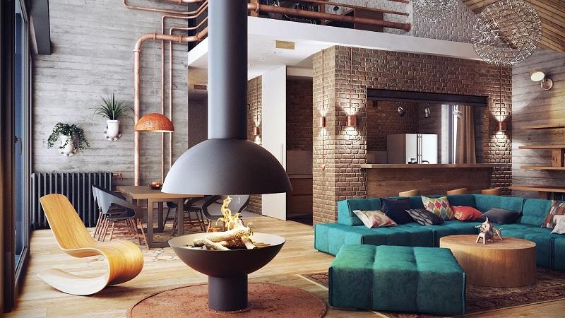 salon comedor industrial con chimenea y ladrillo caravista