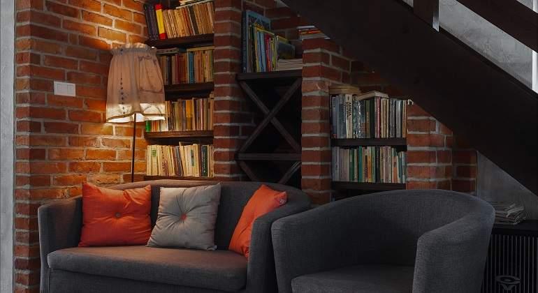 Sofas con libreria y luces tenues