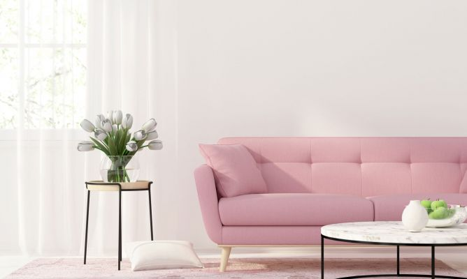 sofa rosa chicle con planta