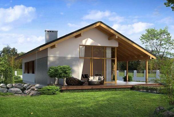 chalet con tejado de madera con jardin