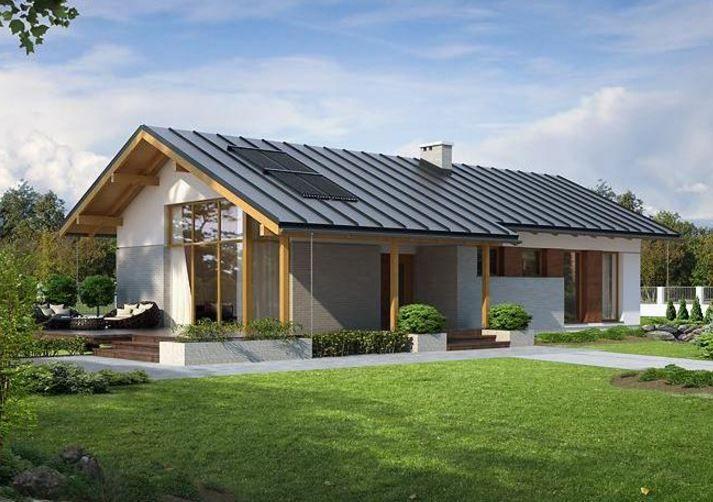 chalet con tejado de metal