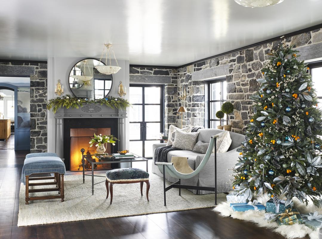 salón con decoración de navidad