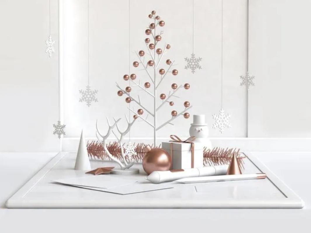 Arbol blanco y dorado minimalista de navidad