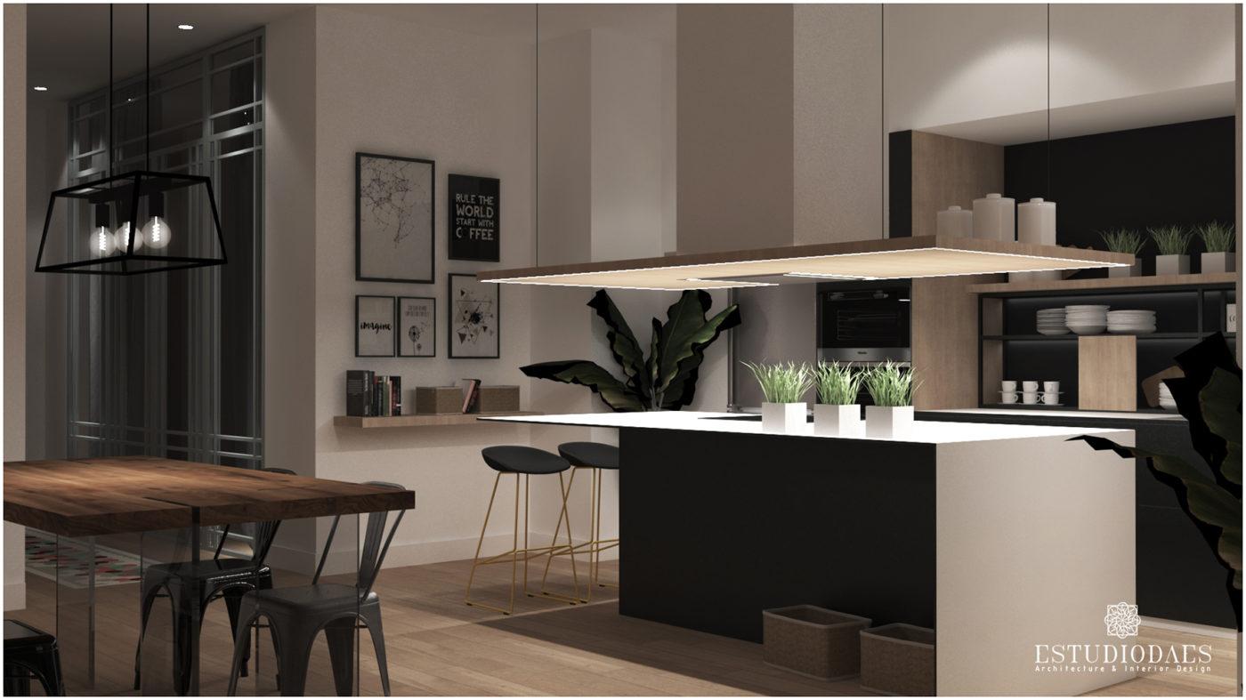 Cocina moderno diseñada por interiorista profesional