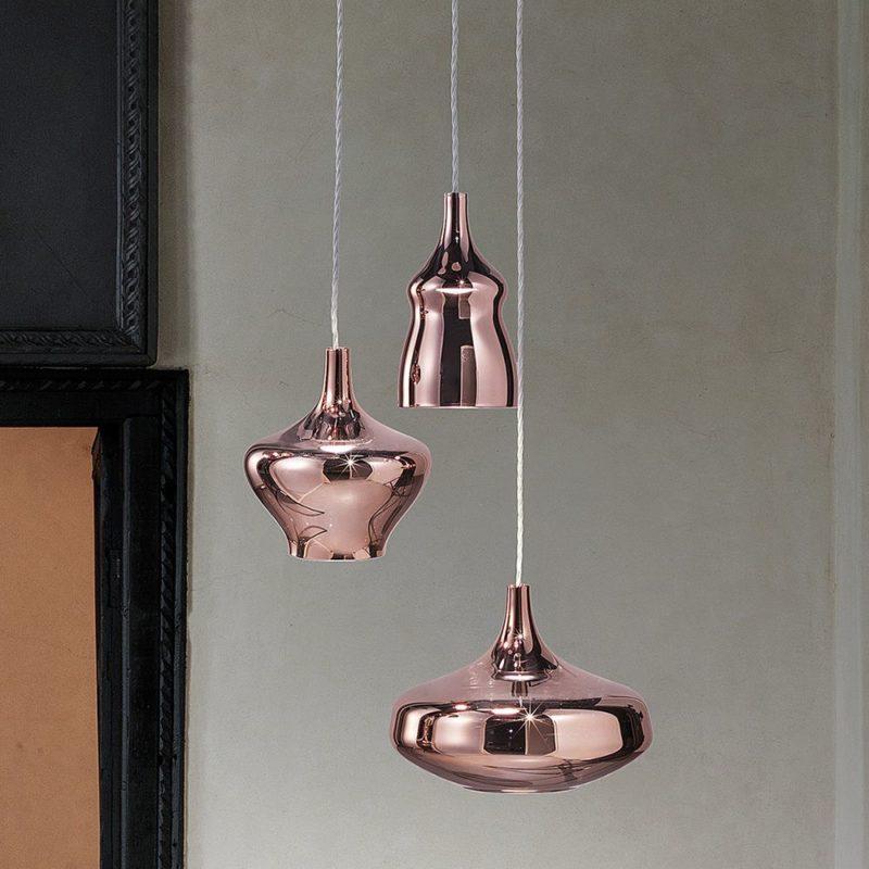 Lampara diseño vidrio solpado rosa
