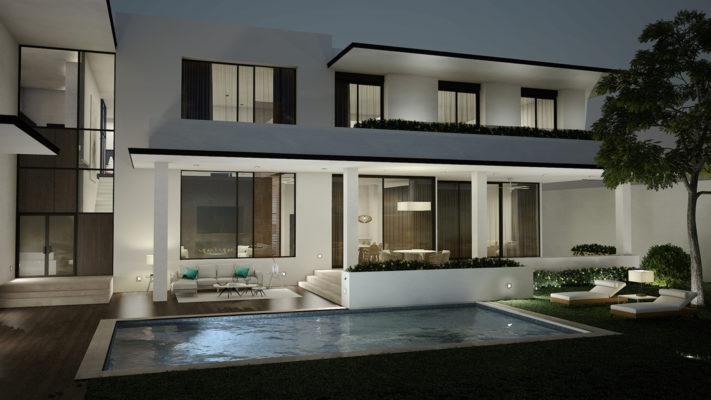 terraza exterior con jardin y piscina