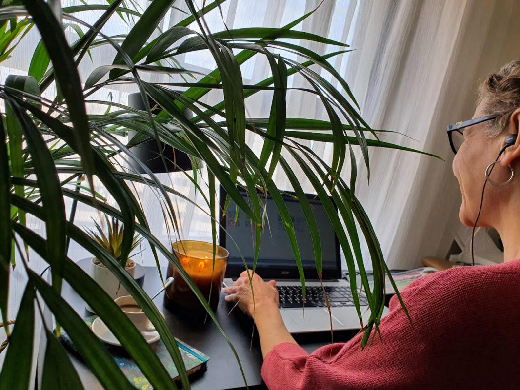 Sandra trabajando detras de una planta