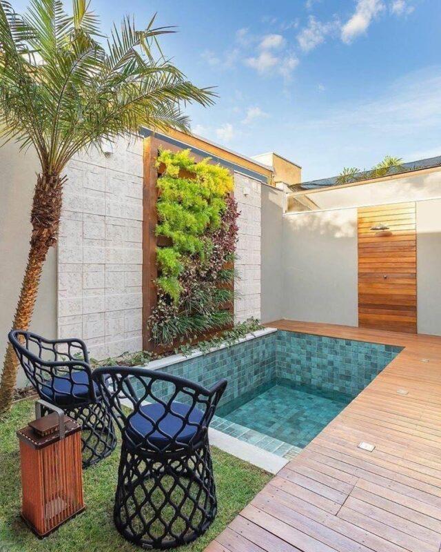 piscina pequeña en jardin con jardin vertical