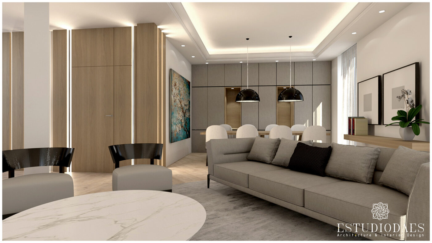 salon con sofas y techo con molduras con iluminación led