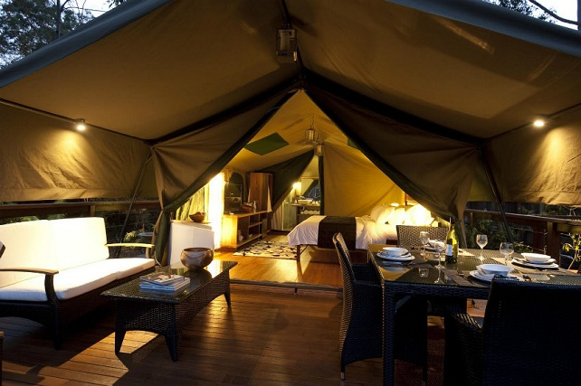 interior de camping de lujo con sofas y cama