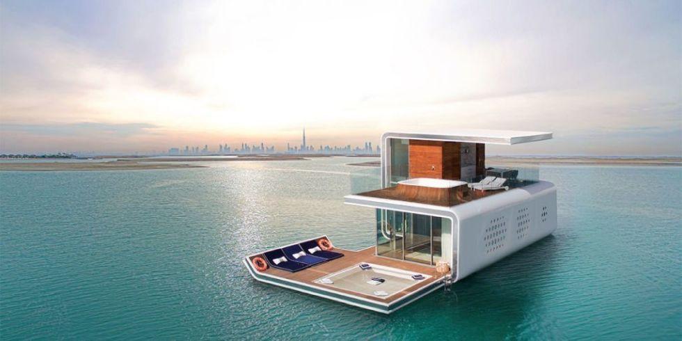Casa flotante en el mar