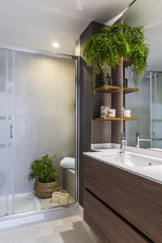 lavabo con ducha y estanteria decorada con plantas