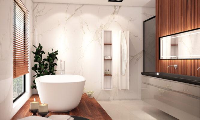 cuarto de baño en tonos marmol y madera