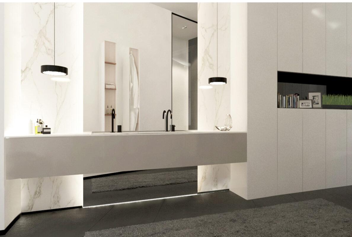 cuarto de baño con espejo y lavabo con armario