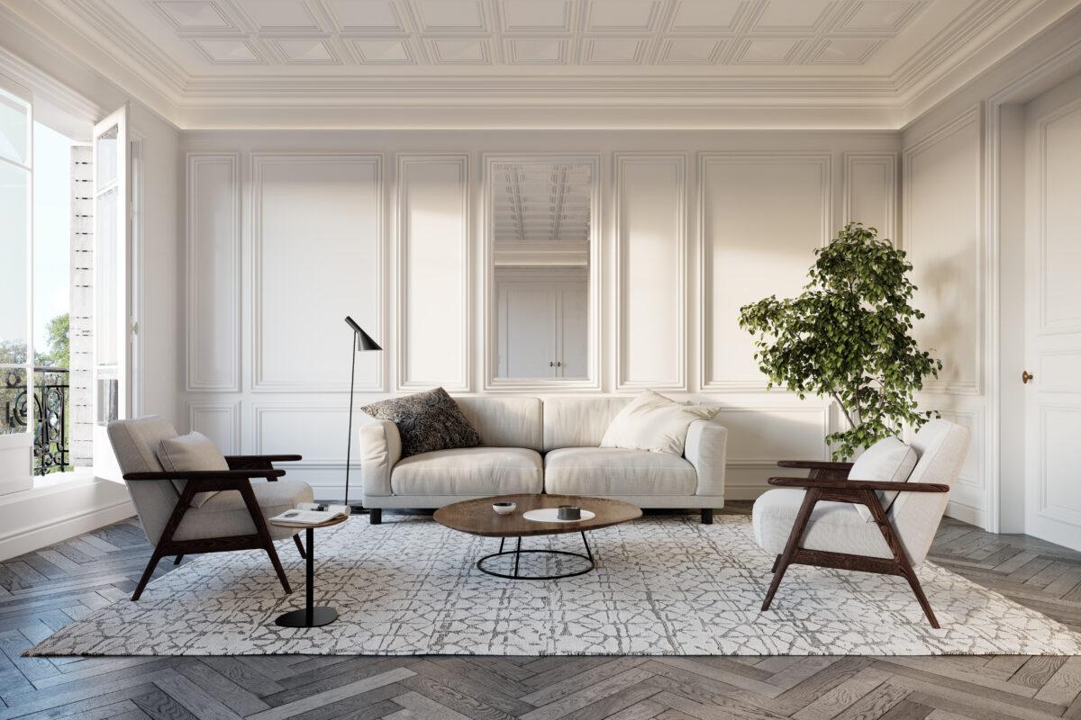 salon con sofas y paredes blancas