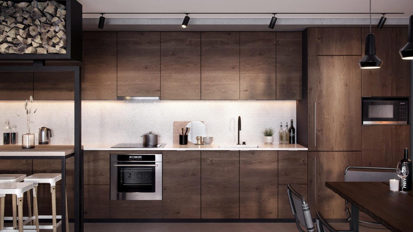 cocina madera marron