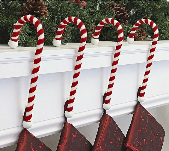 bastoncillos rojos decoración navideña
